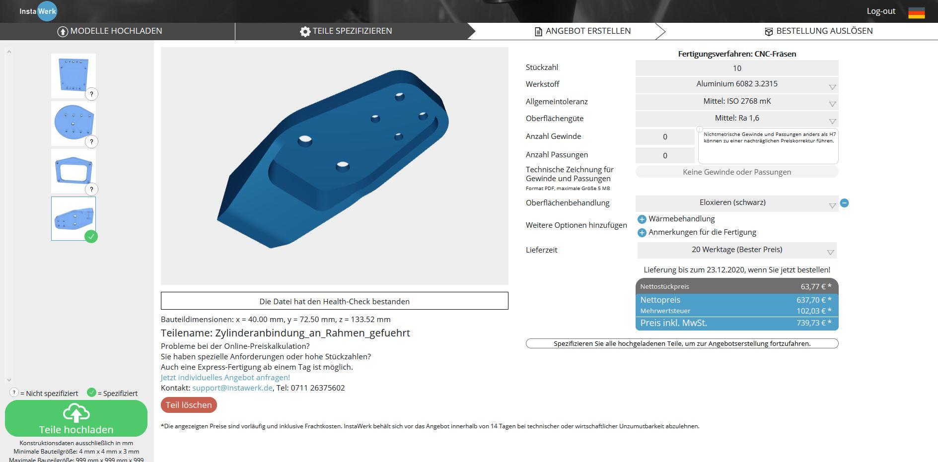Diverse Nachbehandlungen und Wärmebahndlungen für CNC-Teile jetzt im Online-Konfigurator